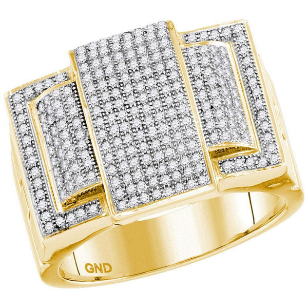 10kt Yellow Gold Mens Diamond Rectangle Elevated Cluster Ring 3/4 Cttw-Gold & Diamond Men Rings-JadeMoghul Inc.