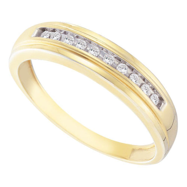 10kt Yellow Gold Mens Diamond Single Row Channel-set Wedding Band Ring 1/8 Cttw-Gold & Diamond Men Rings-JadeMoghul Inc.