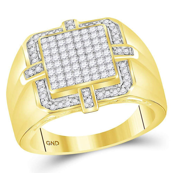 10kt Yellow Gold Mens Princess Diamond Frame Cluster Ring 1.00 Cttw-Gold & Diamond Men Rings-JadeMoghul Inc.