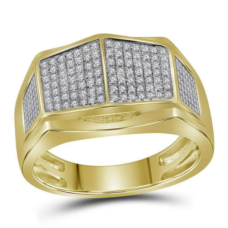10kt Yellow Gold Men's Round Diamond Symmetrical Arched Square Cluster Ring 1/3 Cttw - FREE Shipping (US/CAN)-Gold & Diamond Rings-8-JadeMoghul Inc.