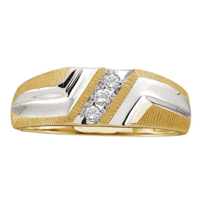 10kt Yellow Gold Men's Round Diamond Wedding Band Ring 1/10 Cttw - FREE Shipping (US/CAN)-Gold & Diamond Wedding Jewelry-10-JadeMoghul Inc.