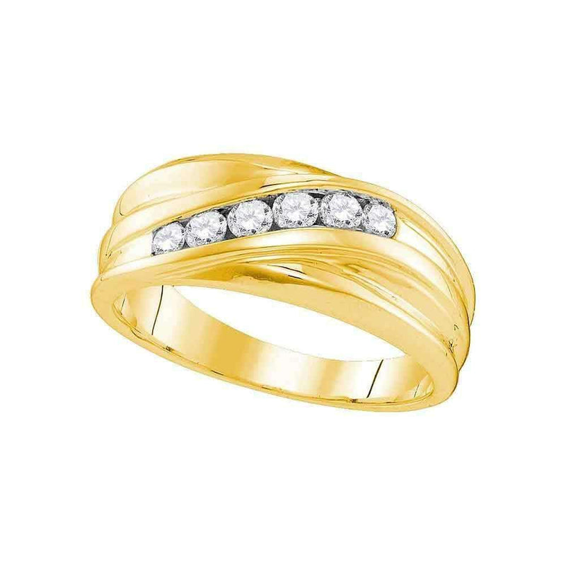 10kt Yellow Gold Men's Round Diamond Wedding Band Ring 1/3 Cttw - FREE Shipping (US/CAN)-Gold & Diamond Wedding Jewelry-9-JadeMoghul Inc.