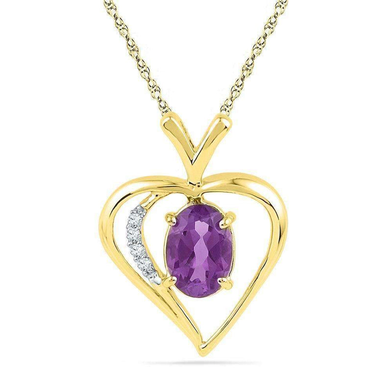 10kt Yellow Gold Womens Oval Lab-Created Amethyst Heart Pendant 3-4 Cttw-Gold & Diamond Pendants & Necklaces-JadeMoghul Inc.