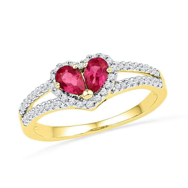 10kt Yellow Gold Women's Pear Lab-Created Ruby Heart Split-shank Ring 3/4 Cttw - FREE Shipping (US/CAN)-Gold & Diamond Heart Rings-5-JadeMoghul Inc.