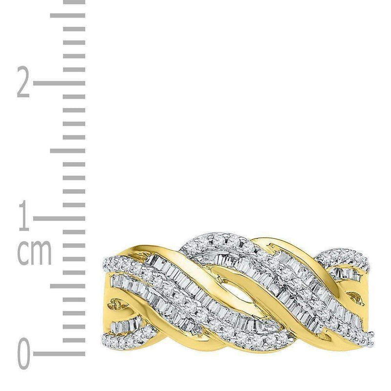 10kt Yellow Gold Women's Round Baguette Diamond Twist Band Ring 1-2 Cttw - FREE Shipping (US/CAN)-Gold & Diamond Bands-JadeMoghul Inc.