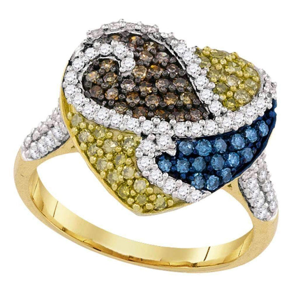10kt Yellow Gold Womens Round Blue Cognac-brown Yellow Color Enhanced Diamond Heart Ring 1-1/20 Cttw-Gold & Diamond Heart Rings-5.5-JadeMoghul Inc.