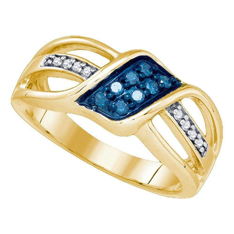 10kt Yellow Gold Women's Round Blue Color Enhanced Diamond Crossover Band Ring 1/5 Cttw - FREE Shipping (US/CAN)-Gold & Diamond Bands-6-JadeMoghul Inc.