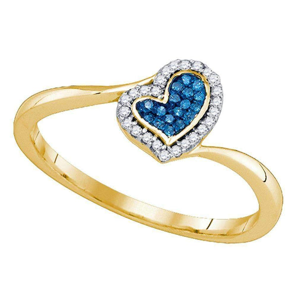 10kt Yellow Gold Womens Round Blue Color Enhanced Diamond Heart Love Ring 1/10 Cttw-Gold & Diamond Heart Rings-10.5-JadeMoghul Inc.