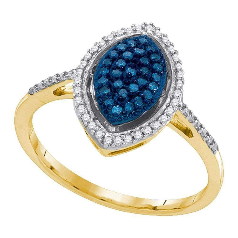 10kt Yellow Gold Women's Round Blue Color Enhanced Diamond Oval Cluster Ring 1/4 Cttw - FREE Shipping (US/CAN)-Gold & Diamond Cluster Rings-5-JadeMoghul Inc.