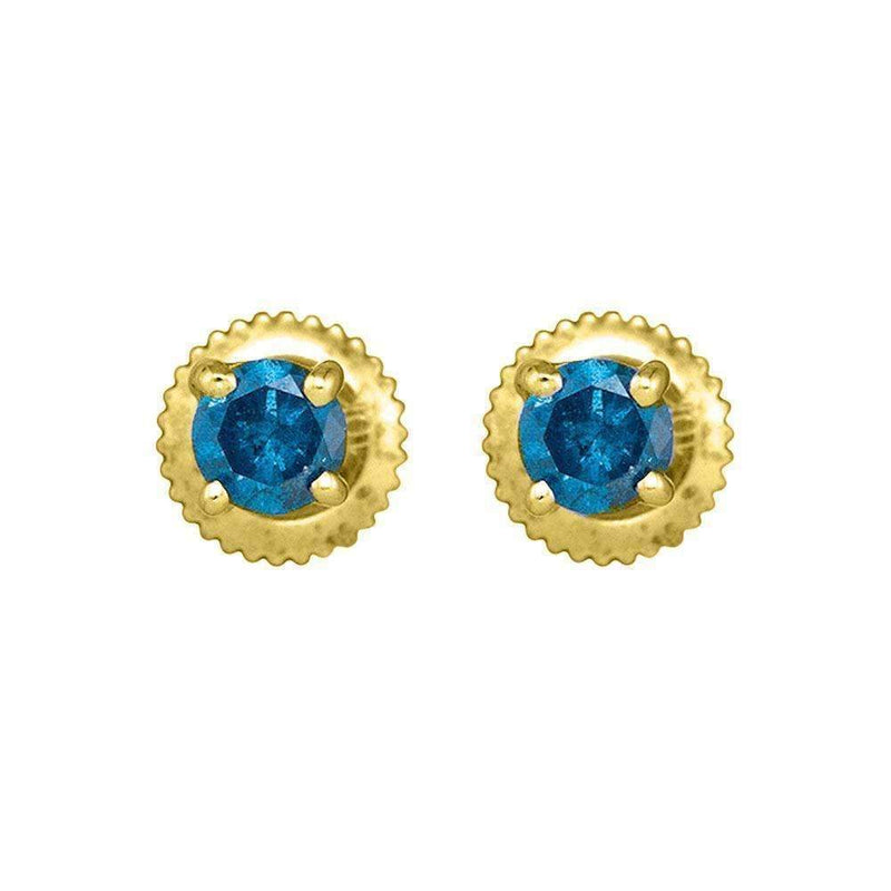 10kt Yellow Gold Women's Round Blue Color Enhanced Diamond Solitaire Earrings 1-2 Cttw - FREE Shipping (US/CAN)-Gold & Diamond Earrings-JadeMoghul Inc.
