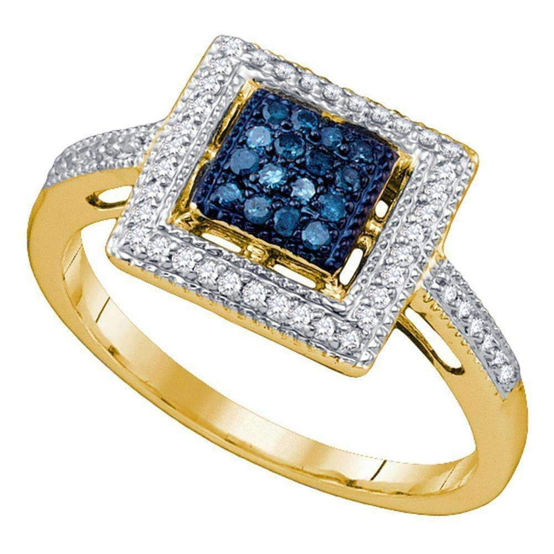 10kt Yellow Gold Women's Round Blue Color Enhanced Diamond Square Ring 1/4 Cttw - FREE Shipping (US/CAN)-Gold & Diamond Cluster Rings-5-JadeMoghul Inc.