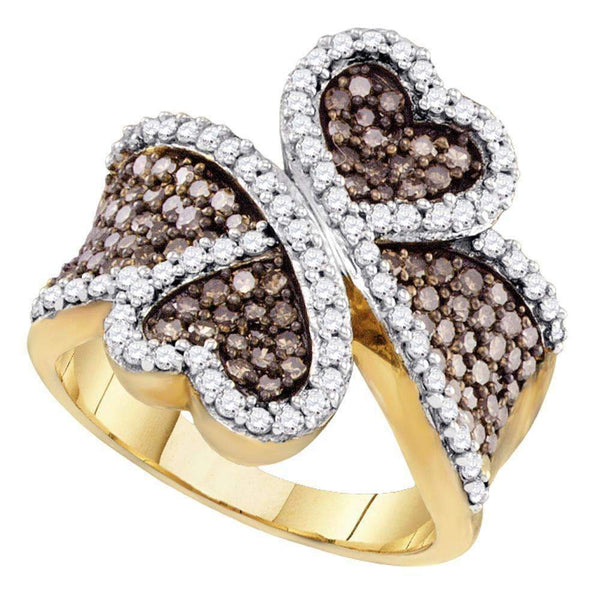 10kt Yellow Gold Womens Round Brown Color Enhanced Diamond Heart Ring 1-1-2 Cttw-Gold & Diamond Heart Rings-JadeMoghul Inc.