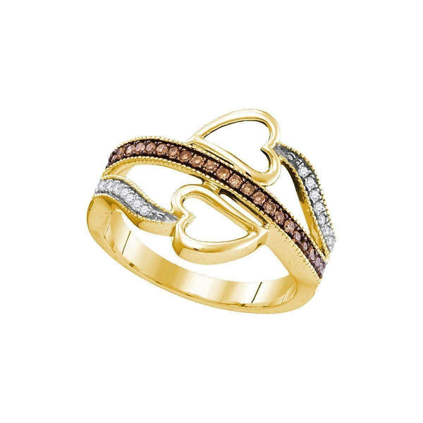 10kt Yellow Gold Women's Round Cognac-brown Color Enhanced Diamond Heart Crossover Ring 1-5 Cttw - FREE Shipping (US/CAN)-Gold & Diamond Heart Rings-JadeMoghul Inc.