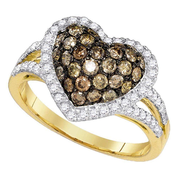 10kt Yellow Gold Womens Round Cognac-brown Color Enhanced Diamond Heart Love Ring 1-3/8 Cttw-Gold & Diamond Heart Rings-10.5-JadeMoghul Inc.