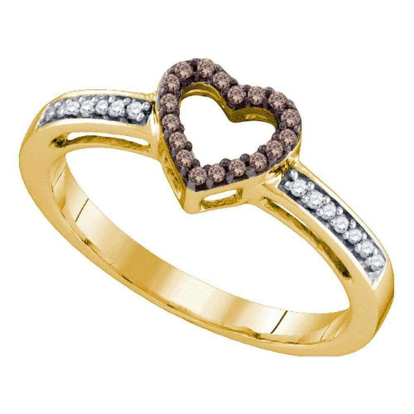 10kt Yellow Gold Women's Round Cognac-brown Color Enhanced Diamond Heart Love Ring 1/10 Cttw - FREE Shipping (US/CAN)-Gold & Diamond Heart Rings-5-JadeMoghul Inc.