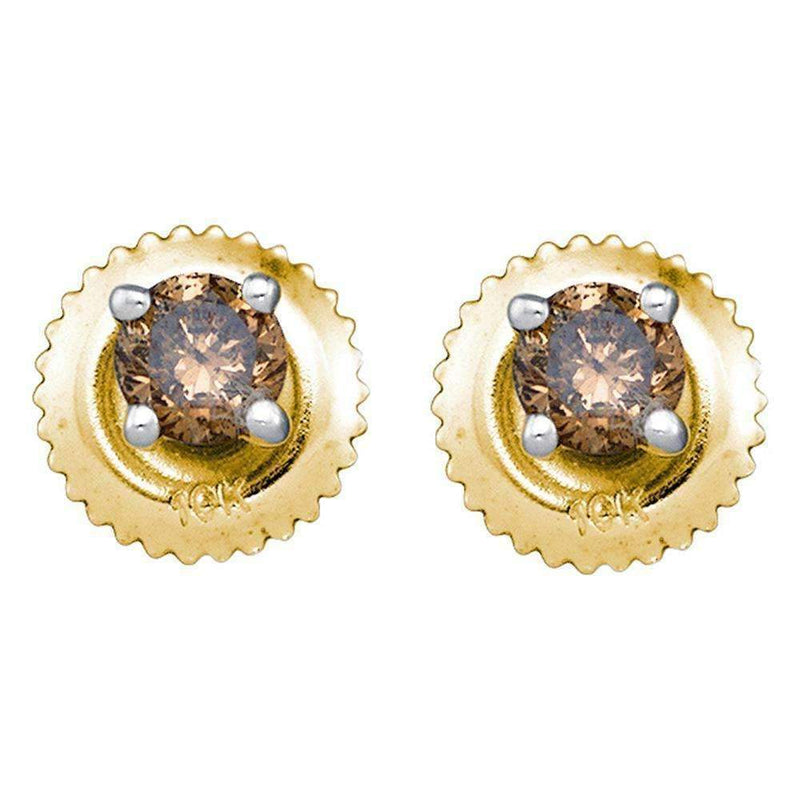 10kt Yellow Gold Women's Round Cognac-brown Color Enhanced Diamond Solitaire Stud Screwback Earrings 1-4 Cttw - FREE Shipping (US/CAN)-Gold & Diamond Earrings-JadeMoghul Inc.