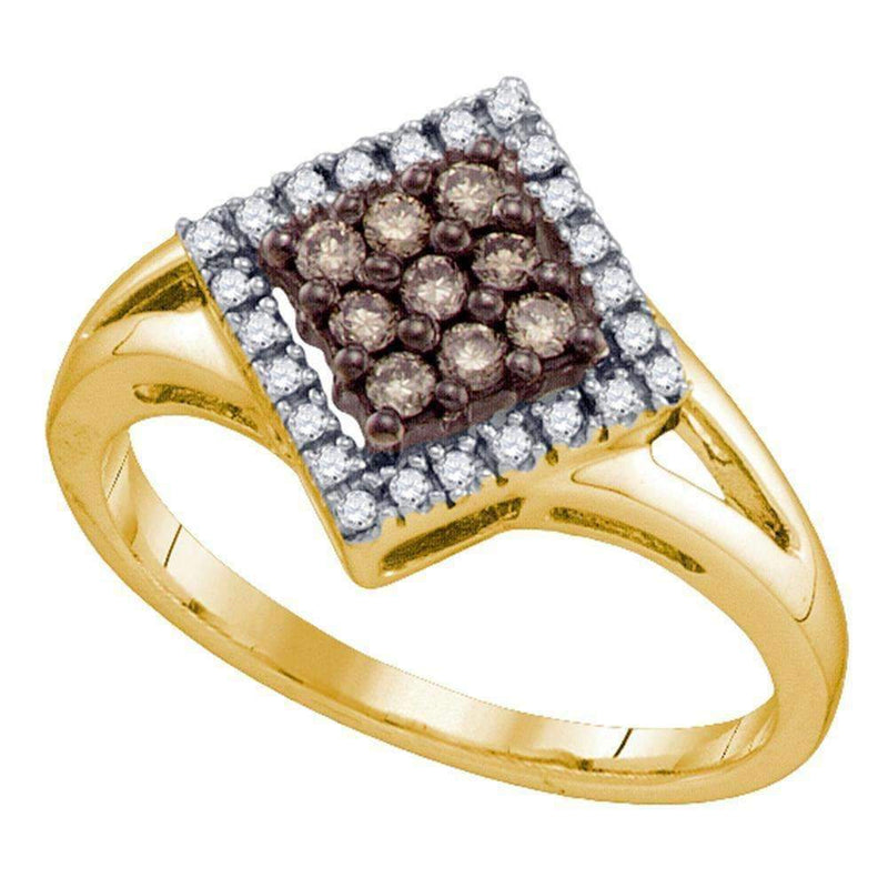 10kt Yellow Gold Women's Round Cognac-brown Color Enhanced Diamond Square Cluster Ring 1/4 Cttw - FREE Shipping (US/CAN)-Gold & Diamond Cluster Rings-7.5-JadeMoghul Inc.