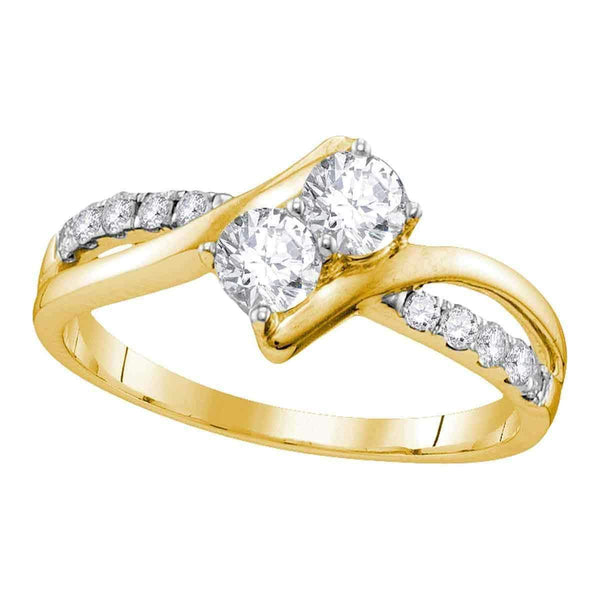 10kt Yellow Gold Womens Round Diamond 2-stone Bridal Wedding Engagement Ring 1-2 Cttw-Gold & Diamond Engagement & Anniversary Rings-JadeMoghul Inc.