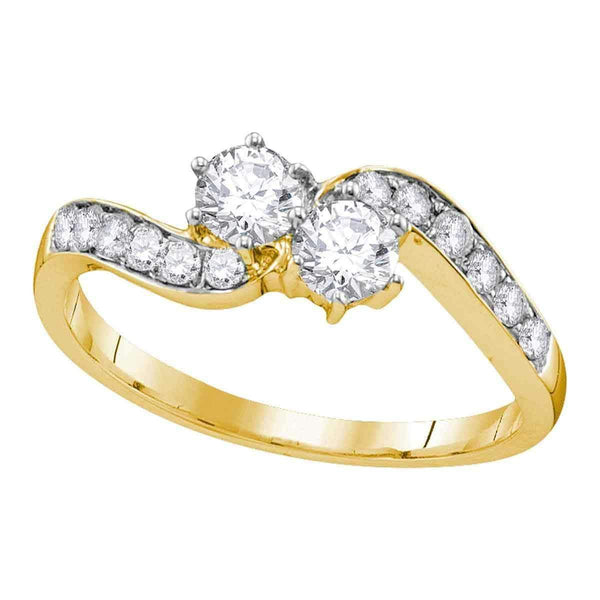 10kt Yellow Gold Womens Round Diamond 2-stone Bridal Wedding Engagement Ring 5-8 Cttw-Gold & Diamond Engagement & Anniversary Rings-JadeMoghul Inc.