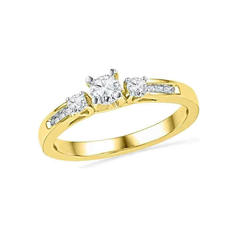 10kt Yellow Gold Women's Round Diamond 3-stone Bridal Wedding Engagement Ring 1/2 Cttw - FREE Shipping (US/CAN)-Gold & Diamond Engagement & Anniversary Rings-5-JadeMoghul Inc.
