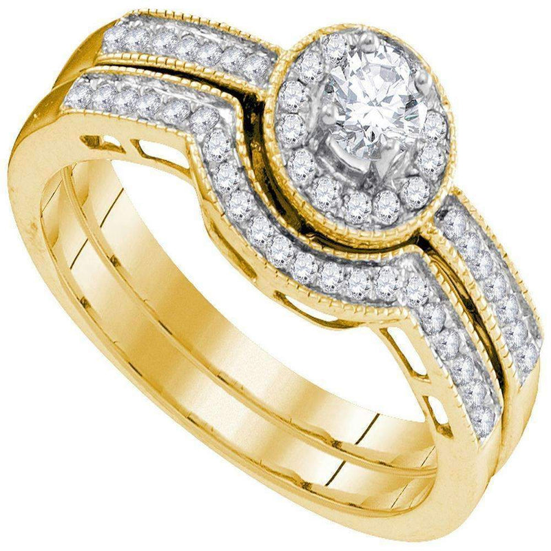10kt Yellow Gold Women's Round Diamond Bridal Wedding Engagement Ring Band Set 1/2 Cttw - FREE Shipping (US/CAN)-Wedding Jewelry-6-JadeMoghul Inc.