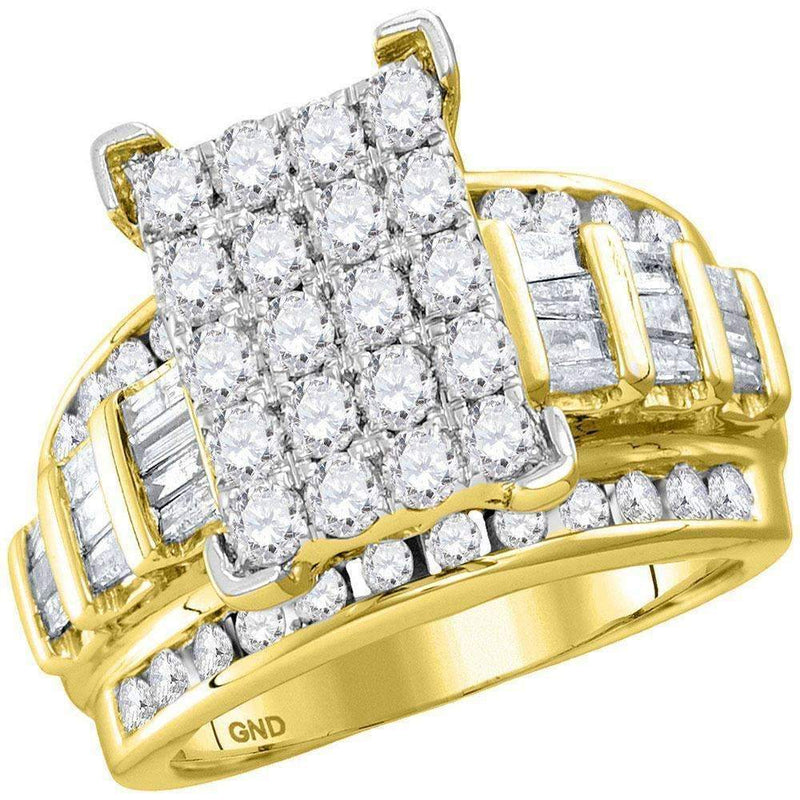 10kt Yellow Gold Women's Round Diamond Cindy's Dream Cluster Bridal Wedding Engagement Ring 3.00 Cttw - FREE Shipping (US/CAN)-Gold & Diamond Engagement & Anniversary Rings-JadeMoghul Inc.