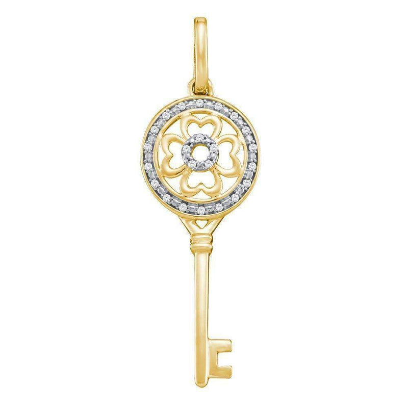 10kt Yellow Gold Women's Round Diamond Circle Handle Key Pendant 1-20 Cttw - FREE Shipping (US/CAN)-Gold & Diamond Pendants & Necklaces-JadeMoghul Inc.
