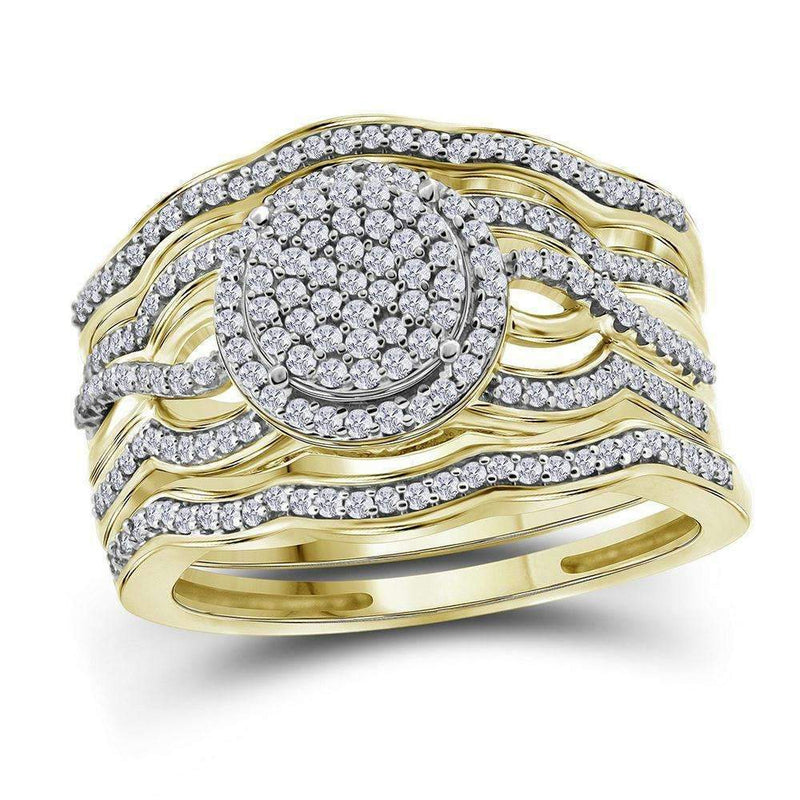 10kt Yellow Gold Womens Round Diamond Cluster 3-Piece Bridal Wedding Engagement Ring Band Set 1-2 Cttw-Gold & Diamond Wedding Ring Sets-JadeMoghul Inc.