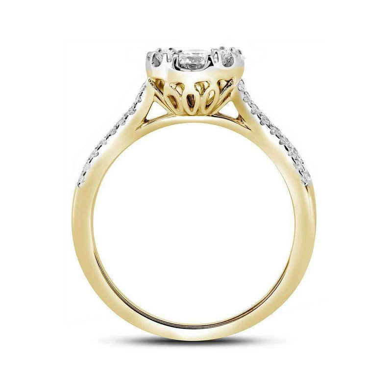 10kt Yellow Gold Women's Round Diamond Cluster Bridal Wedding Engagement Ring 1.00 Cttw - FREE Shipping (US/CAN)-Gold & Diamond Engagement & Anniversary Rings-5-JadeMoghul Inc.