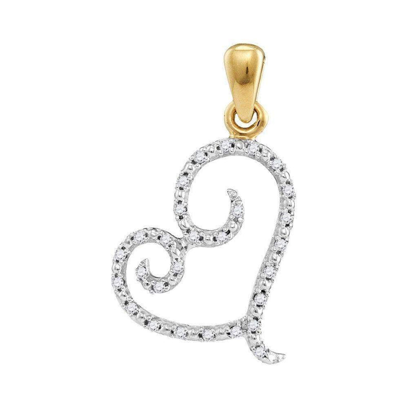 10kt Yellow Gold Women's Round Diamond Curled Heart Pendant 1-10 Cttw - FREE Shipping (US/CAN)-Gold & Diamond Pendants & Necklaces-JadeMoghul Inc.