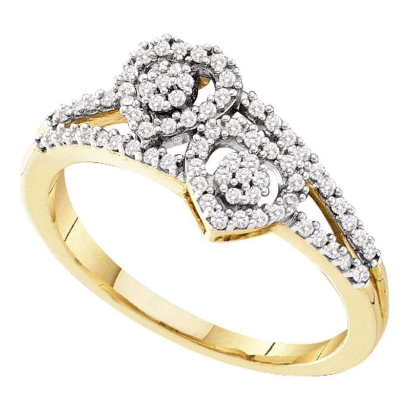 10kt Yellow Gold Women's Round Diamond Double Heart Cluster Ring 1/4 Cttw - FREE Shipping (US/CAN)-Gold & Diamond Heart Rings-5-JadeMoghul Inc.