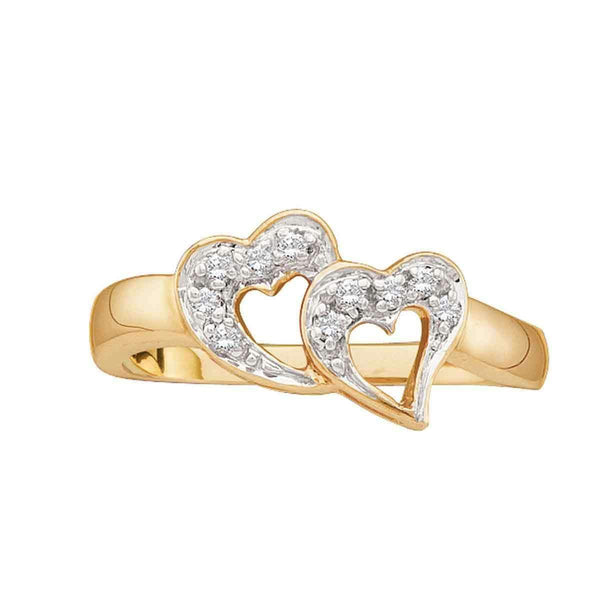 10kt Yellow Gold Womens Round Diamond Double Heart Love Ring 1/12 Cttw-Gold & Diamond Heart Rings-10.5-JadeMoghul Inc.