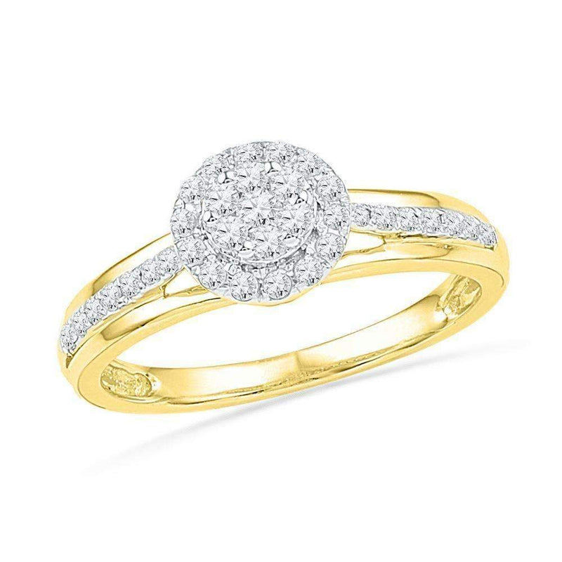 10kt Yellow Gold Women's Round Diamond Flower Cluster Ring 1/3 Cttw - FREE Shipping (US/CAN)-Gold & Diamond Cluster Rings-5-JadeMoghul Inc.