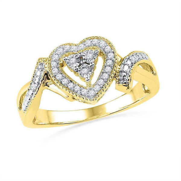 10kt Yellow Gold Women's Round Diamond Framed Heart Cluster Ring 1/10 Cttw - FREE Shipping (US/CAN)-Gold & Diamond Heart Rings-5-JadeMoghul Inc.