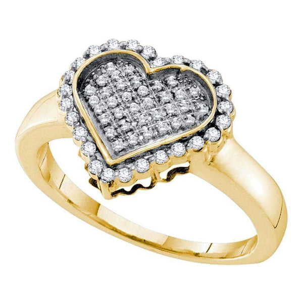 10kt Yellow Gold Women's Round Diamond Heart Cluster Ring 1/4 Cttw - FREE Shipping (US/CAN)-Gold & Diamond Heart Rings-6-JadeMoghul Inc.