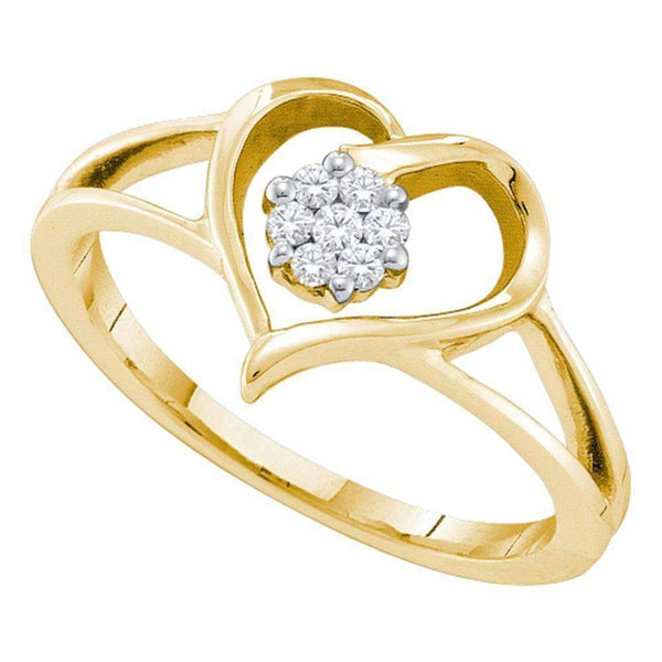 10kt Yellow Gold Women's Round Diamond Heart Flower Cluster Ring 1/12 Cttw - FREE Shipping (US/CAN)-Gold & Diamond Heart Rings-5-JadeMoghul Inc.