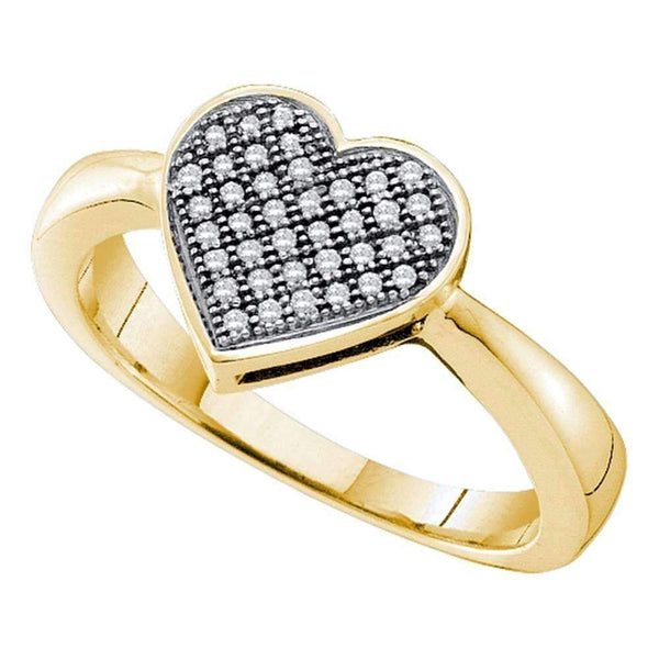 10kt Yellow Gold Women's Round Diamond Heart Love Cluster Ring 1/10 Cttw - FREE Shipping (US/CAN)-Gold & Diamond Heart Rings-5-JadeMoghul Inc.