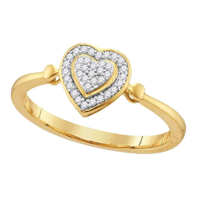 10kt Yellow Gold Women's Round Diamond Heart Love Cluster Ring 1/10 Cttw - FREE Shipping (US/CAN)-Gold & Diamond Heart Rings-6-JadeMoghul Inc.