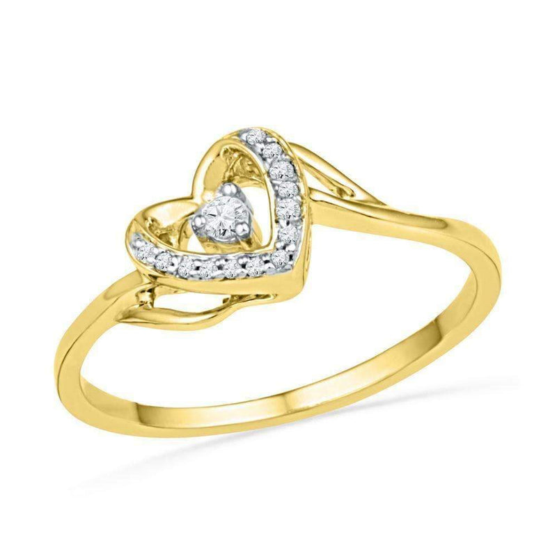 10kt Yellow Gold Women's Round Diamond Heart Love Promise Bridal Ring 1/12 Cttw - FREE Shipping (US/CAN)-Gold & Diamond Promise Rings-7-JadeMoghul Inc.