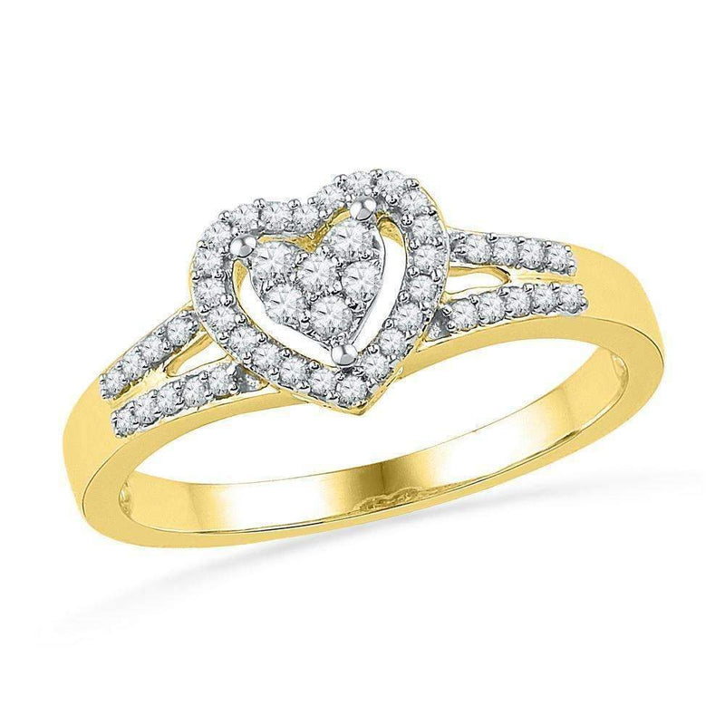 10kt Yellow Gold Women's Round Diamond Heart Love Ring 1/5 Cttw - FREE Shipping (US/CAN)-Gold & Diamond Heart Rings-5-JadeMoghul Inc.
