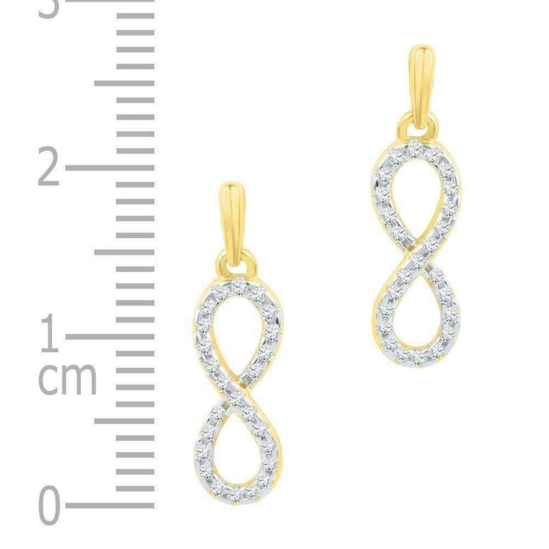 10kt Yellow Gold Women's Round Diamond Infinity Dangle Earrings 1-4 Cttw - FREE Shipping (US/CAN)-Gold & Diamond Earrings-JadeMoghul Inc.