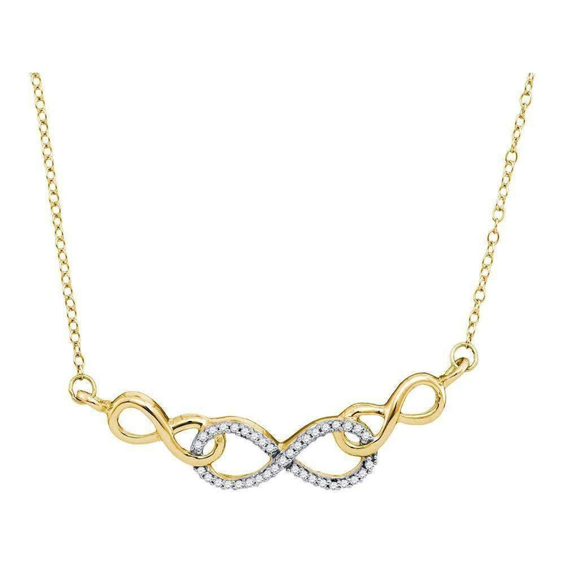 10kt Yellow Gold Women's Round Diamond Infinity Pendant Necklace 1-5 Cttw - FREE Shipping (US/CAN)-Gold & Diamond Pendants & Necklaces-JadeMoghul Inc.