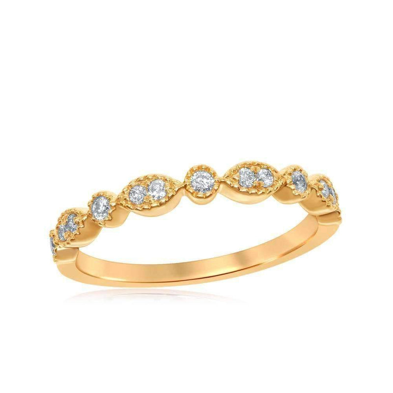 10kt Yellow Gold Women's Round Diamond Milgrain Stackable Band Ring 1-6 Cttw - FREE Shipping (US/CAN)-Gold & Diamond Rings-JadeMoghul Inc.