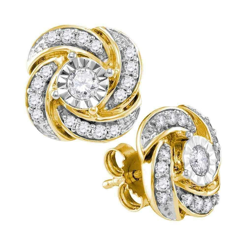 10kt Yellow Gold Women's Round Diamond Pinwheel Stud Earrings 1-3 Cttw - FREE Shipping (US/CAN)-Gold & Diamond Earrings-JadeMoghul Inc.