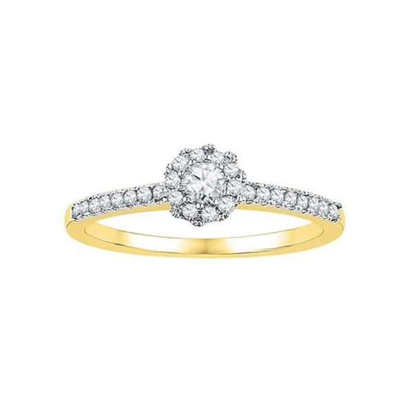 10kt Yellow Gold Womens Round Diamond Solitaire Slender Halo Bridal Wedding Engagement Ring 1/3 Cttw-Gold & Diamond Engagement & Anniversary Rings-5-JadeMoghul Inc.