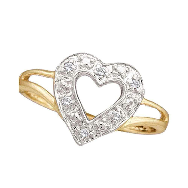 10kt Yellow Gold Womens Round Diamond Split-shank Heart Ring 1/20 Cttw - FREE Shipping (US/CAN)-Gold & Diamond Heart Rings-9-JadeMoghul Inc.