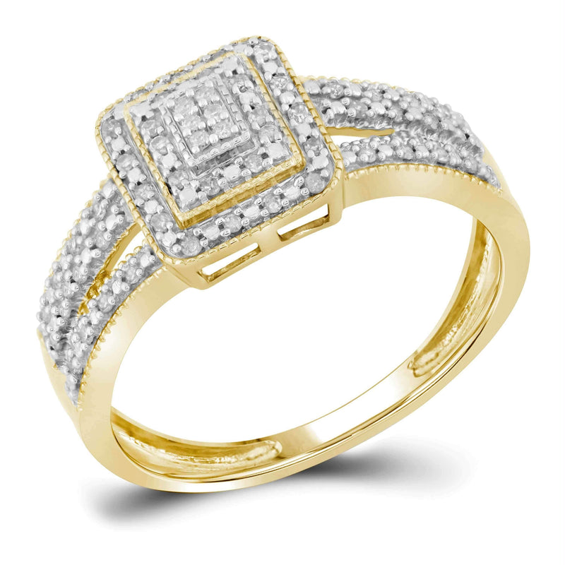 10kt Yellow Gold Womens Round Diamond Square Cluster Bridal Wedding Engagement Ring 1/6 Cttw-Gold & Diamond Engagement & Anniversary Rings-6.5-JadeMoghul Inc.