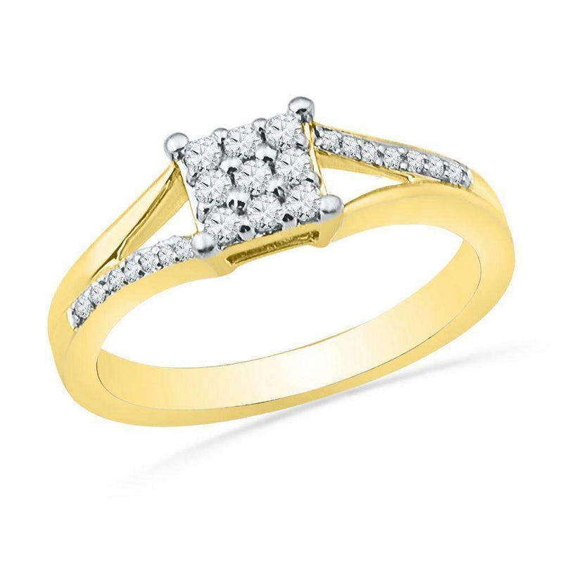 10kt Yellow Gold Women's Round Diamond Square Cluster Ring 1/4 Cttw - FREE Shipping (US/CAN)-Gold & Diamond Cluster Rings-5-JadeMoghul Inc.