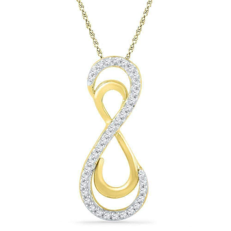 10kt Yellow Gold Women's Round Diamond Vertical Double Infinity Pendant 1-10 Cttw - FREE Shipping (US/CAN)-Gold & Diamond Pendants & Necklaces-JadeMoghul Inc.