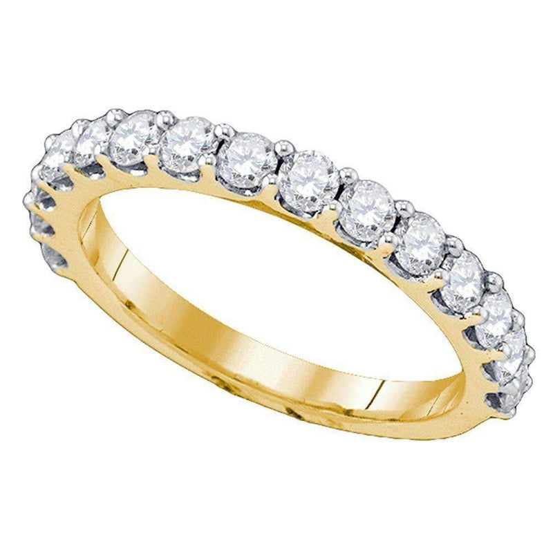 10kt Yellow Gold Women's Round Diamond Wedding Band Ring 1.00 Cttw - FREE Shipping (US/CAN)-Gold & Diamond Wedding Jewelry-6-JadeMoghul Inc.
